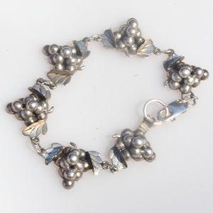 Iguala Mexico 925 Sterling Silver Grapes Bracelet